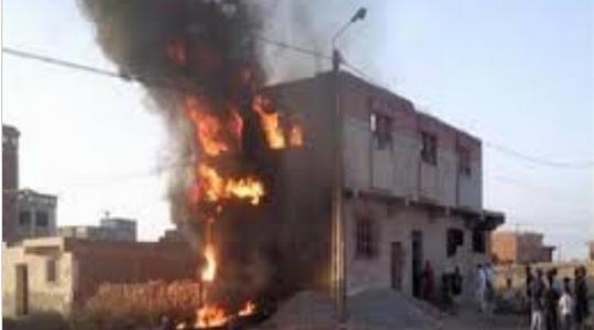 اصابة شخصين في حريق وقع بحي القادسية بمنزل لأحد المواطنين