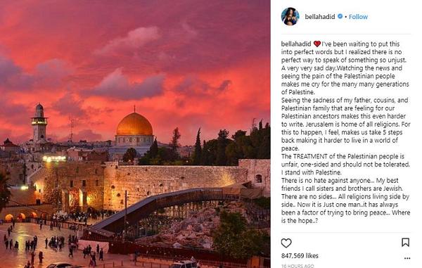 بيلا حديد تعبر عن حزنها من أجل القدس بعد إعلان ترامب