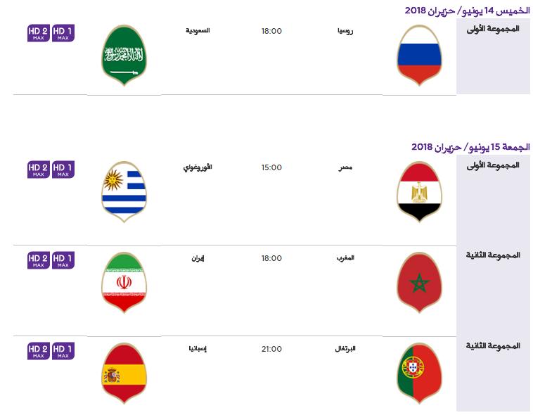 1 - جدول مباريات كأس العالم لعام 2018