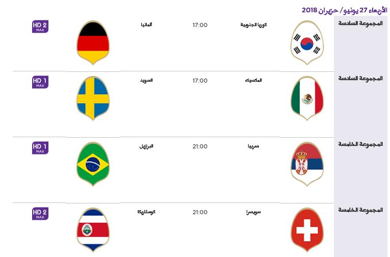 12 - جدول مباريات كأس العالم لعام 2018