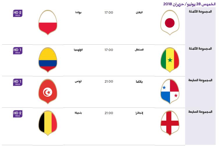 13 - جدول مباريات كأس العالم لعام 2018