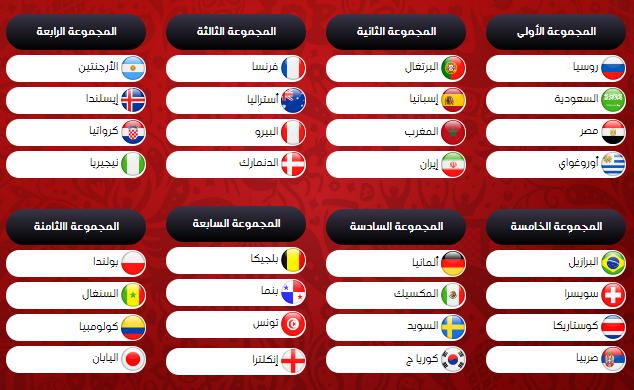 19 - جدول مباريات كأس العالم لعام 2018