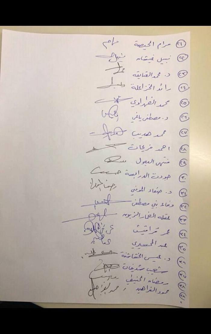 2 - أسماء النواب الموقعين على وثيقة توافق مشروع ضريبة الدخل