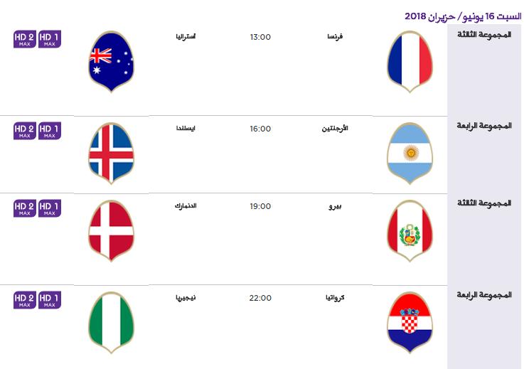 2 - جدول مباريات كأس العالم لعام 2018