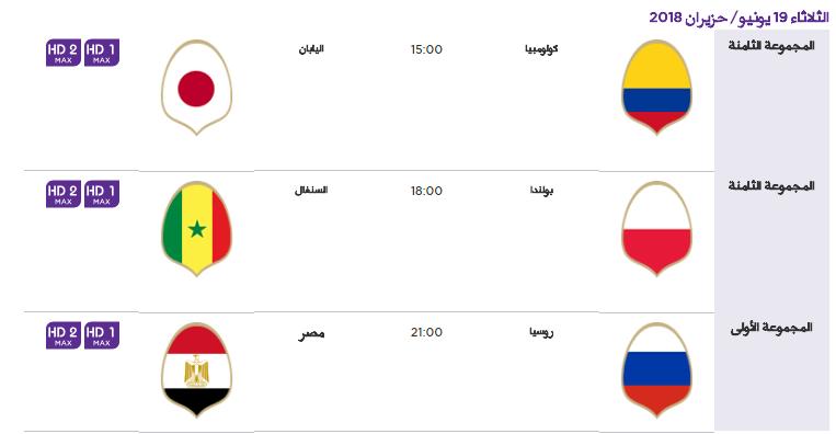 4 - جدول مباريات كأس العالم لعام 2018