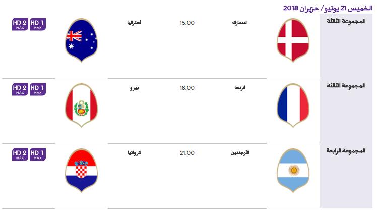 6 - جدول مباريات كأس العالم لعام 2018