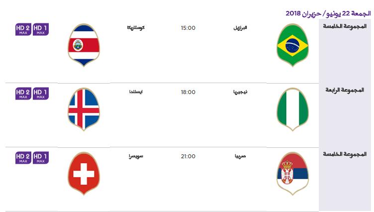 7 - جدول مباريات كأس العالم لعام 2018