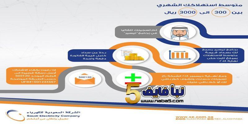 برنامج تيسير لسداد فواتير الكهرباء - رابط برنامج تيسير لتقسيط فواتير الكهرباء